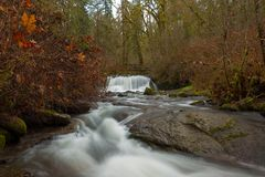 Bridge Over McDowell Creek Falls. In Oregon County Park during winter royalty free stock images