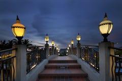 Bridge Over Melaka River at Blue Hour Stock Photography