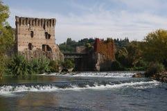 Bridge over the Mincio, Italy. Ancient Bridge upon the Mincio river in Borghetto, Verona, Italy Stock Photography