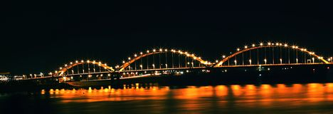 Bridge over the Mississippi River, Davenport, Iowa at night Royalty Free Stock Image