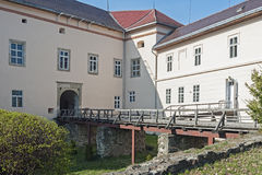 The bridge over moat of the castle of Uzhhorod, Ungvar, in Ukraine Stock Photo