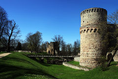 The bridge over the moat leading to the tower of the castle Wenden Order Castle Stock Photo