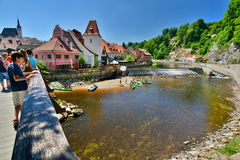 Bridge over Moldava (Vltava) river. Český Krumlov. Czech Republic Royalty Free Stock Photography