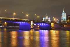 Bridge over Moscow river at night Royalty Free Stock Photo