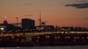Bridge over Moscow River at sunset stock video