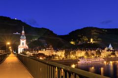 Bridge over the Moselle in Zell at night stock photo