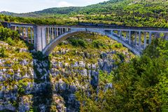 The bridge over the mountain canyon Verdon Royalty Free Stock Images