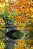 Bridge over mountain lake. Autumn scenery in National Park Sumava - Czech Republic Europe Royalty Free Stock Photo