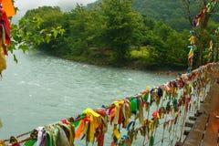 Bridge over the mountain river in Abkhazia royalty free stock photo