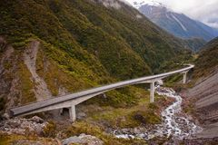 Bridge over the mountains of Arthurs pass in New Zealand. Famous tourist spot in NZ, tourism, zelandia nature stock photography