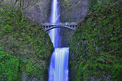 Bridge over Multnomah falls in Columbia river gorge Oregon HDR Royalty Free Stock Photo