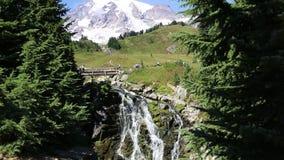 Bridge over Myrtle Falls. Mount Rainier National Park - Washington stock footage