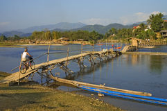 Bridge over Nam Xong River, Vang Vieng Royalty Free Stock Image