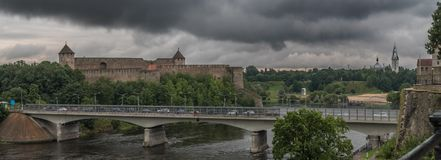 Bridge over Narva river Royalty Free Stock Images