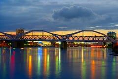 Bridge over the Neckar River, city of Mannheim Royalty Free Stock Photos
