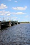 Bridge over the Neva River in St. Petersburg Royalty Free Stock Image