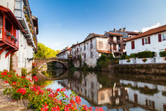 Nive River. Bridge over the Nive river at Saint Jean Pied de Port, Pays Basque, France royalty free stock photos