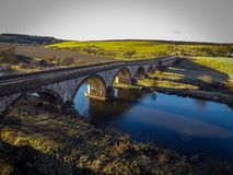 Bridge over north esk river stock photos