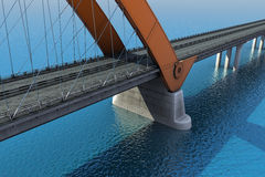 Bridge over the ocean. 3d illustration Stock Photography