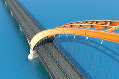 Bridge over the ocean. 3d illustration Stock Photos