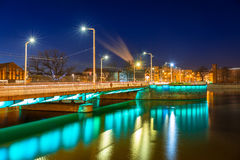 Bridge over Odra river in Wroclaw at night Stock Photos