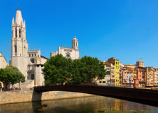 Bridge over  Onyar and Collegiate Church  with Gothic Cathedral Stock Photos