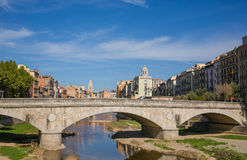 Bridge over the Onyar river in Girona Royalty Free Stock Photo