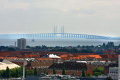 The bridge over Oresund between Copenhagen Denmark and Malmo Swe Royalty Free Stock Images