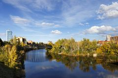 Bridge over Pisuerga River in Valladolid, Spain. Under a blue sky with white clouds Stock Photography