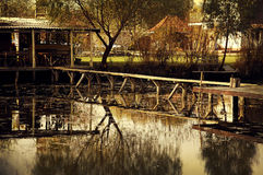 A bridge over the pond Royalty Free Stock Photography