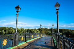Bridge over the pond in the ensemble Tsaritsyno. Beautiful bridge over the pond in the palace and park ensemble Tsaritsyno in Moscow Stock Photography