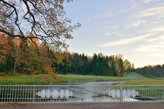 Bridge over a pond in late autumn at sunset. Pavlovsk. In late autumn Royalty Free Stock Photos