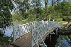 Bridge over pond in the  Lermontov estate Tarkhany Stock Photo