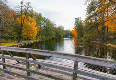 Bridge over a pond in park Royalty Free Stock Images