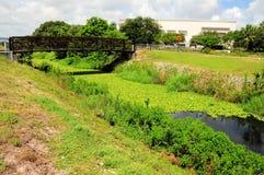 Bridge over pond Royalty Free Stock Photography