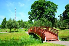 Bridge over pond in Viesintos village Anyksciai district Royalty Free Stock Images