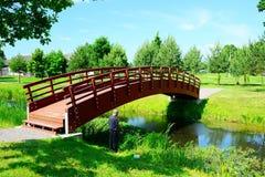 Bridge over pond in Viesintos village Anyksciai district Stock Image