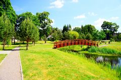 Bridge over pond in Viesintos village Anyksciai district Stock Photography