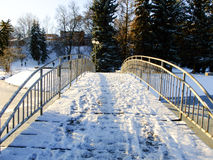 Bridge over the Pond in Winter. Bridge over the Pond in old Riverbed Park of Panevezys City, Lithuania Stock Photography