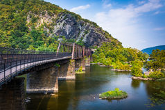 Bridge over the Potomac River and view of Maryland Heights, in H Stock Photos