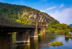 Bridge over the Potomac River and view of Maryland Heights Royalty Free Stock Photography