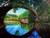 Bridge over the quiet river. Acrylic colors on canvas. Beautiful picture. Lovely background. Landscape royalty free illustration