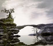 Bridge Over Quiet Waters. 3D Illustration of landscape with fancy concept where we observe rock formations on calm waters and a prominent tree on one of the Stock Images
