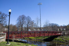 Bridge Over the Rahway. A pedestrian bridge over the Rahway River Royalty Free Stock Image