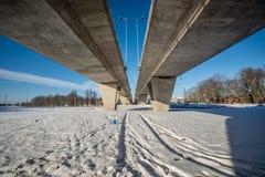 Bridge over railroad Stock Images