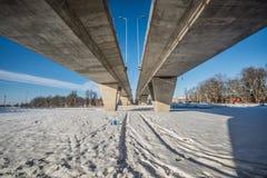 Bridge over railroad Royalty Free Stock Image