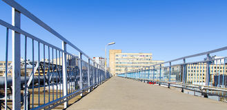 The bridge over the railroad. Pedestrian bridge over the railroad Royalty Free Stock Images
