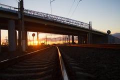 The bridge over the railway Stock Image