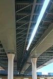 Bridge over the railway. New modern bridge over the railway stock photography