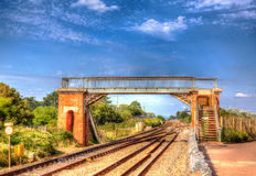 Bridge over railway track with blue sky Royalty Free Stock Photography